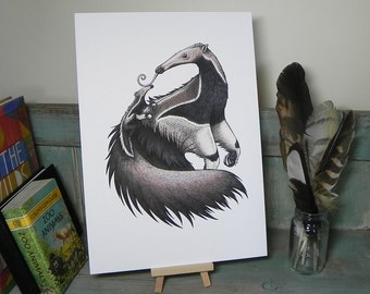 Anteater & Baby Illustration - A4 Print on 270gsm Card available in 3 Colours