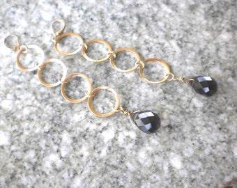 Quartz Earrings, Chandelier Earrings, Gemstone Jewelry, Gold Earrings, Smoky Quartz, Statement Earrings, Gifts for her, Gold filled Jewelry