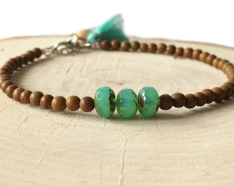 Handmade anklet with 4mm brown glass beads and turquoise facet glass beads