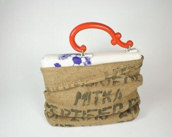 Lederhandtasche mit Porzellangriff Dockerhandbag LE