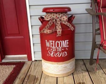 Personalized Family Name Decal for Milk Can, Front Door or other Front Porch Decor (Decal Only)