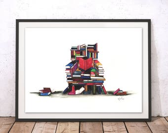 Book Illustration Lovers Art Print Geekery Nerd Print Bibliophile for Book Lovers Gift For Library Storytime Kids Bedroom School by Rosalind