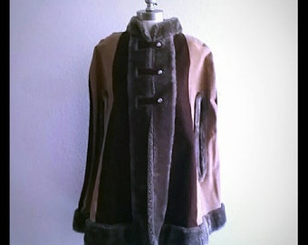 60's Bohemian Suede brown Poncho