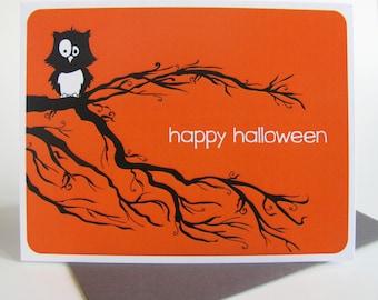 Little Night Owl Orange - Happy Halloween Blank Note Card