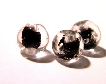 5 beads 8 mm - dark glass lampwork - luminous Pearl round glass bead - 8 mm - black - G148-8