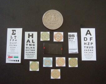 12 Miniature  Optometrist / Optician Eye Test Charts -  Dollhouse 1:12 scale