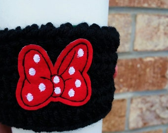 Minnie Mouse Coffee Cozy Minnie Coffee Cozy Minnie Bow Crochet Coffee Cozy Disney Coffee Cup Cozy Minnie Coffee Cup Cozy