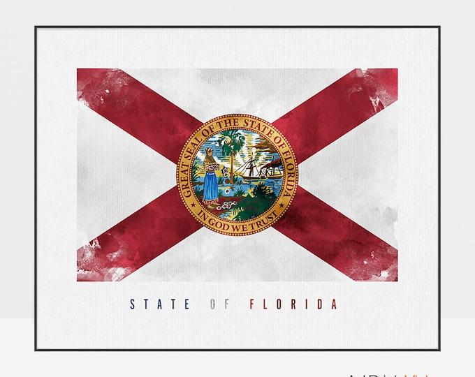 Florida state flag art print, Office decor, Wall art, flag poster, United States flag, travel poster, gift, home decor ArtPrintsVicky