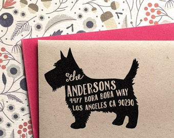 Custom Address Stamp - Scottish Terrier Return Address Stamp, customized gift for holidays, housewarming and weddings, school