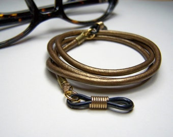 Metallic Brass, Eyeglasses Holder, 3mm Leather, Custom Length 24-36 Inches, Eyeglass Cord, Chain for Glasses, by Eyewearglamour