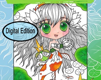 Digital Edition Chibi Doodle Whimsy Characters Coloring Book for adult coloring and all ages with fairies, mermaid, by JennyLuanArt