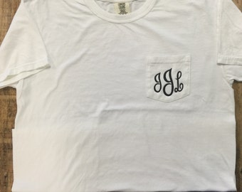 Monogrammed Comfort Colors Pocket Tee, Personalized Comfort Colors T-Shirt