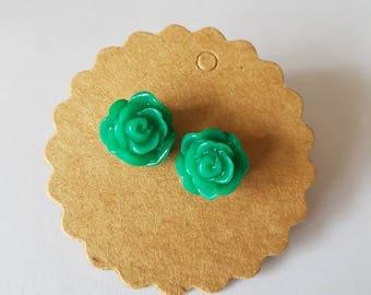 Dark Green Rose Earrings