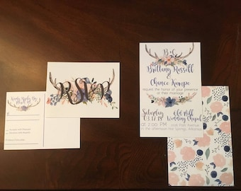Custom Floral and Antler Wedding Invitations and RSVPs