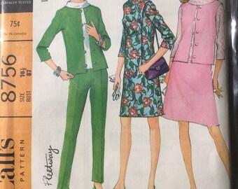 Macalls 60s dress pattern bust 37 un-used jacket trousers skirt vintage suit