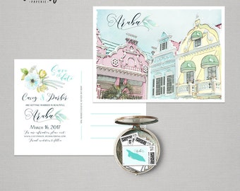 Aruba Oranjestad Destination wedding Caribbean save the date Postcard with illustration sketch drawing watercolor Deposit Payment