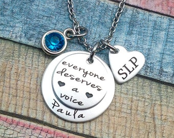 Speech Therapist Gift, Speech Therapy, Therapy Staff, Speech Rehab, SLP Gift, Language Therapy Gift, Engraved Necklace, Custom Jewelry, SLP