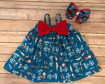 Cat in the Hat Bow Dress, Dr Seuss Dress