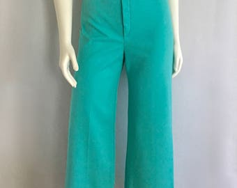Vintage Women's 70's Turquoise, Polyester Pants, High Waisted, Flare Leg by Jack Winter (S)