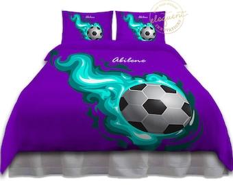 Nice Girl Soccer Bedding   Comforter Purple Teal Flames   Soccer Bedding   Kids  Sports Custom Personalized