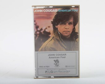 John Cougar, American Fool, Audio Cassette Tape, Vintage, Music, Album, Cover, In a Case, 1983, Polygram Records, ~ The Pink Room ~ 170319