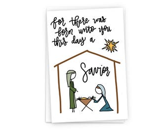 Stick Figure Nativity Scene - Christmas Card Professionally Printed with Envelopes- Digitally Hand Drawn Holiday Card