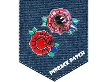 Roses Flowers Pinback Patch Brooch, Roses Fashion Pin on Patch