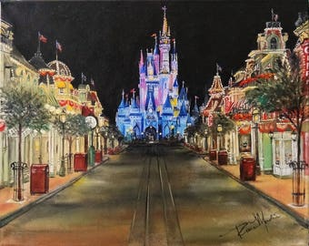 Disney's Main Street USA, print of original oil painting by Artist, Roseann Madia