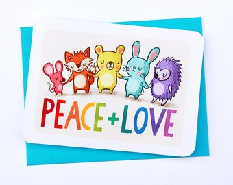 Peace and Love Card - Cute Holiday Card Woodland Animals Christmas Card Season's Greetings Love and Peace card for all Gifts for Everyone