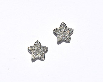 14k Pave Diamond Gold Star Earrings/Studs