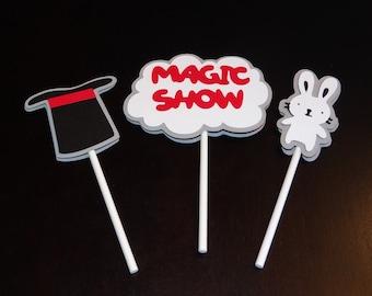 Magic Show Birthday Cupcake Toppers - Birthday Supplies, Birthday Decorations
