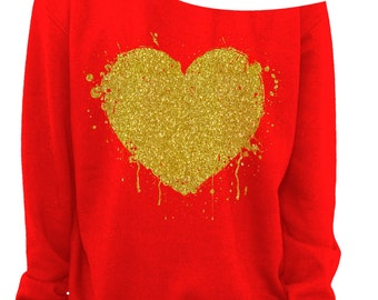 VALENTINE'S DAY - HEART - Glitter - Slouchy Sweatshirt - Grunge - Splatter Heart - Off the shoulder - Gold Glitter Imprint - s-3x