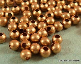 100 Unplated Brass Spacer Beads 3mm Round Metal 1mm hole - 100 pc - M7013-UN100