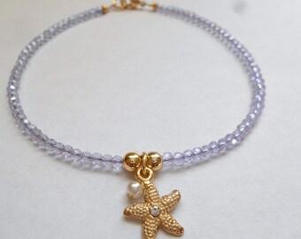 Anklet Purple Anklet Bead Anklet Starfish Jewelry Sea Stars Jewelry Faceted Anklet Beaded Anklet Sparkle