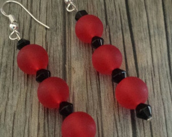 Red Frosted Earrings, Red Earrings, Frosted Earrings, Dangle Earrings, Red Dangle Earrings, Red and Black Earrings, Black Crystals, Silver