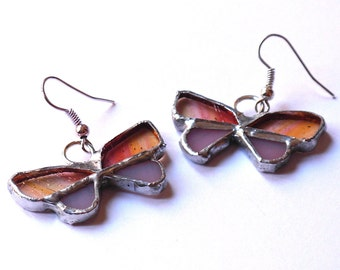 pink butterfly earrings in stained glass