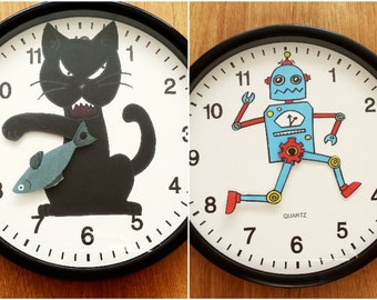 silly wall clock novelty wall clock cat wall clock robot wall clock funny