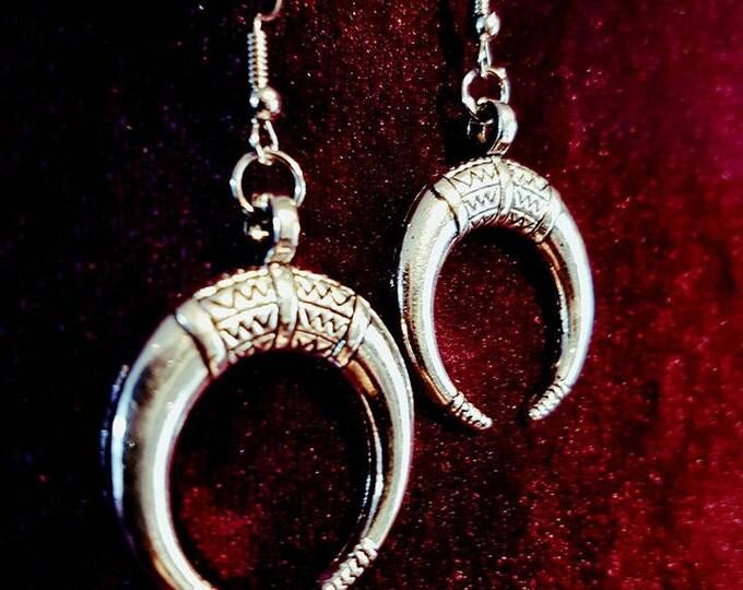 Moon earrings - moon witch wicca gothic bull boho bohemian goth