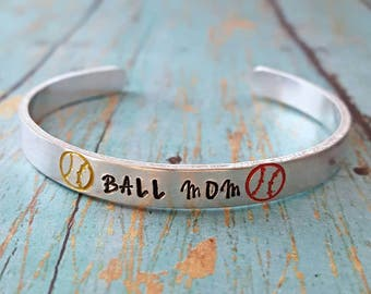 Ball Mom - Ball Mom Bracelet - Cuff Bracelet - Baseball Mom - Softball Mom - Sports Mom - Baseball Fan - Team Sports - Mom - Sports Jewelry