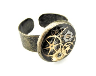 Clockpunk Ring - Industrial Ring - Watch Gear Ring - Steampunk Ring - Clockworks Ring - Adjustable Ring - Steampunk Gift idea for her