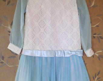 50s Ivory lace and blue chiffon drop waist dress with sheer sleeves and blue satin ribbon