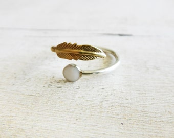 Feather ring, sterling silver ring with feather, white enamel ring with feather, gold silver ring with white enamel,boho ring, gift for her