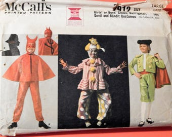 McCall's 7912 Girls' or boys' clown, bullfighter, devil and bandit costume pattern Uncut Size large (10-12)