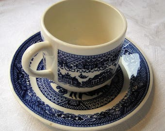 Royal China Blue Willow Cup and Saucer