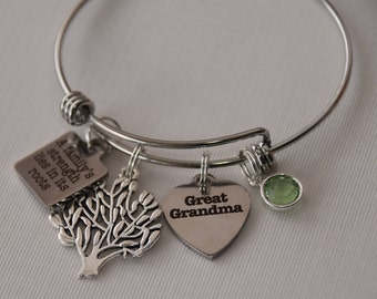 Family strength lies in its roots bracelet-grandmother bracelet, grandma gift, family heritage, family history gift, great grandmother,