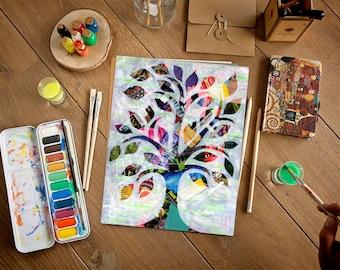 Tree of Life wall art, Wedding gift, graduation gift, bohemian decor, mixed media art print, Painting of tree, Baby decor, nursery decor