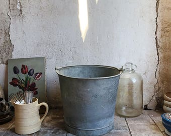 Vintage French Metal Bucket / vintage galvanized bucket / vintage garden bucket / vintage garden pail / Rustic French Bucket /
