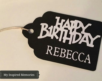 Personalized Happy Birthday tag, birthday favor tags