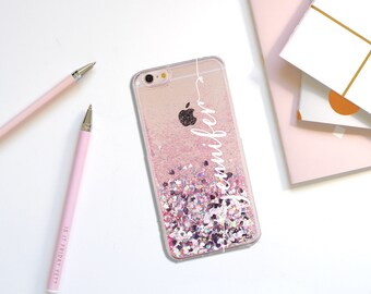 Holographic moving glitter phone case iphone 7 case iphone 8 case iphone 8 plus case iphone x case pink kawaii phone cases monogram