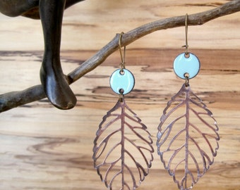 Robin's Egg Blue Drop Earrings, Copper Leaf Dangle Earrings, Enamel Earrings, Light Blue Chandelier Earrings Nickel free kidney ear wir